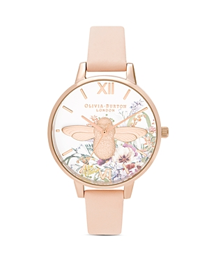 Olivia Burton Enchanted Garden Leather Strap Watch, 34mm