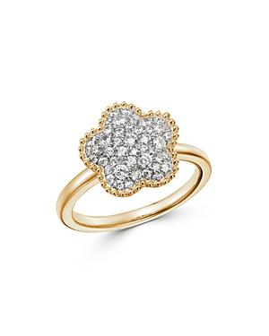 Bloomingdale's Pave Diamond Flower Ring in 14K Yellow Gold, 0.50 ct. t.w. - 100% Exclusive