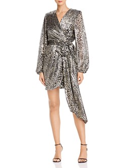 Rebecca Vallance - Lottie Metallic Leopard Faux Wrap Dress
