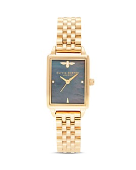Olivia Burton - Bee Hive Black Mother-of-Pearl Link Bracelet Watch, 20.5mm x 25.5mm - 100% Exclusive