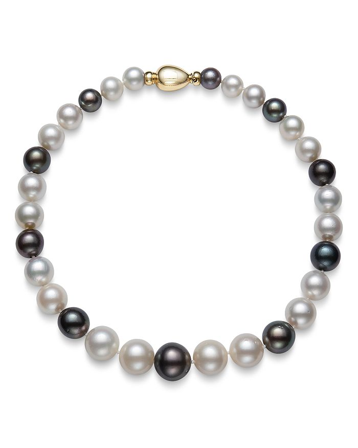 Bloomingdale's White South Sea & Tahitian Black Pearl Necklace In 14k Yellow Gold, 17.5 - 100% Exclusive In Multi/gold