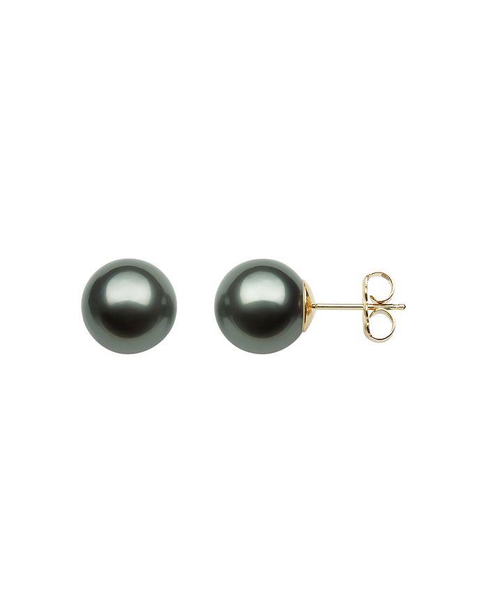Bloomingdale's - Tahitian Black Pearl Stud Earrings in 14K Yellow Gold - 100% Exclusive
