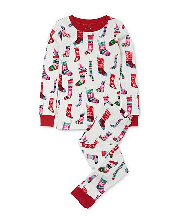Hatley - Unisex Stocking Print Tee & Stocking Print Pants Pajama Set - Little Kid, Big Kid