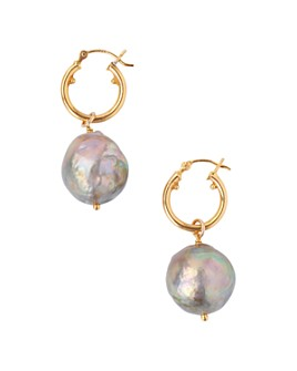 Chan Luu - Cultured Freshwater Baroque Pearl Drop Earrings in 18K Gold-Plated Sterling Silver