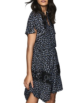 REISS - Amalia Ditsy Floral Print Lace-Inset Dress