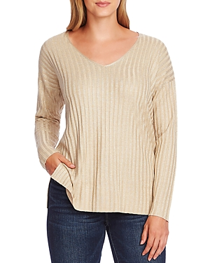 Vince Camuto Metallic Ribbed Sweater