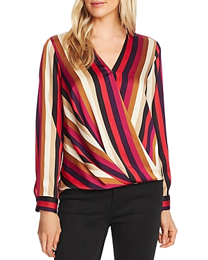 Vince Camuto Tops MAYFAIR STRIPE WRAP-FRONT TOP