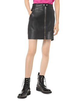 MICHAEL Michael Kors - Zip-Front Leather Mini Skirt