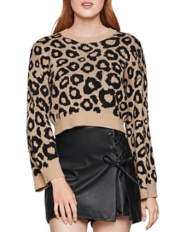 BCBGENERATION - Leopard Print Cropped Sweater