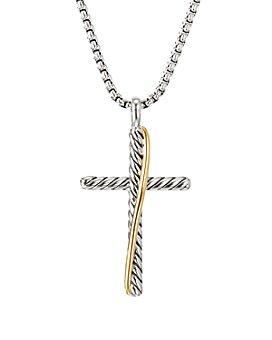"David Yurman - Sterling Silver & 18K Yellow Gold Crossover Cross Necklace, 17"""