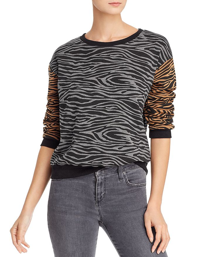 Vintage Havana - Color-Block Zebra Print Sweatshirt - 100% Exclusive