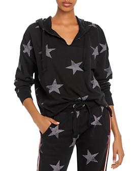 Vintage Havana - Striped-Trim Star Print Hooded Sweatshirt