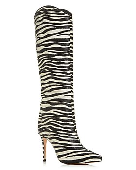 SCHUTZ - Women's Maryana Zebra Calf Hair Tall Pointed-Toe Boots