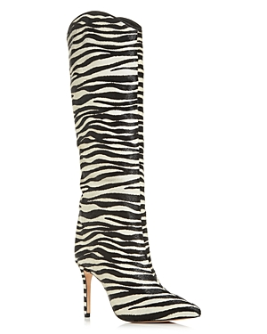 Schutz Women\\\'s Maryana Zebra Calf Hair Tall Pointed-Toe Boots