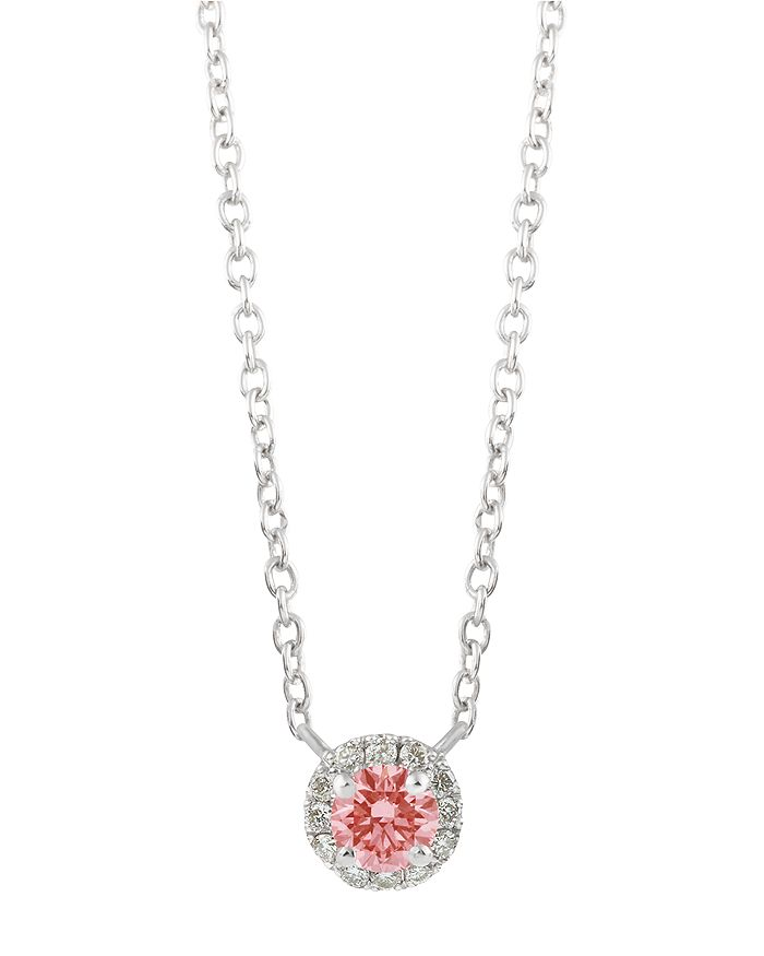 Lightbox Jewelry Halo Lab-grown Diamond Pendant Necklace In Sterling Silver, 18 In Pink/silver