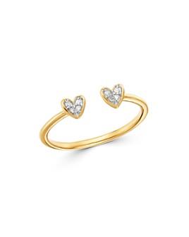 Adina Reyter - 14K Yellow Gold Pavé Diamond Open Heart Ring
