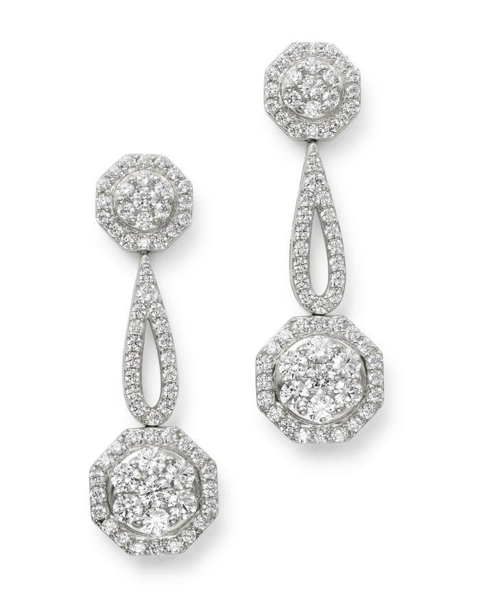 Bloomingdale's Cluster Diamond Geometric Drop Earrings in 14K White Gold, 3.0 ct. t.w. - 100% Exclusive    Bloomingdale's