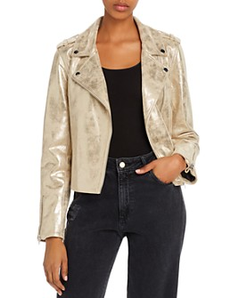Sunset & Spring - Metallic Faux Suede Moto Jacket - 100% Exclusive