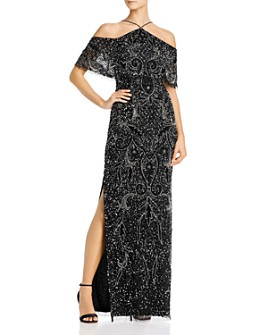 Aidan Mattox - Cold-Shoulder Beaded Gown - 100% Exclusive