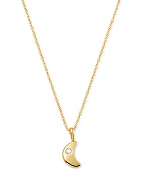 Bloomingdale's - Diamond Moon Pendant Necklace in 14K Yellow Gold, 0.03 ct. t.w. - 100% Exclusive