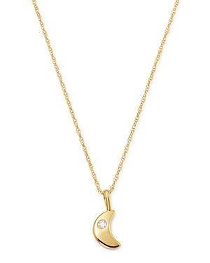 Diamond Moon Pendant Necklace in 14K Yellow Gold
