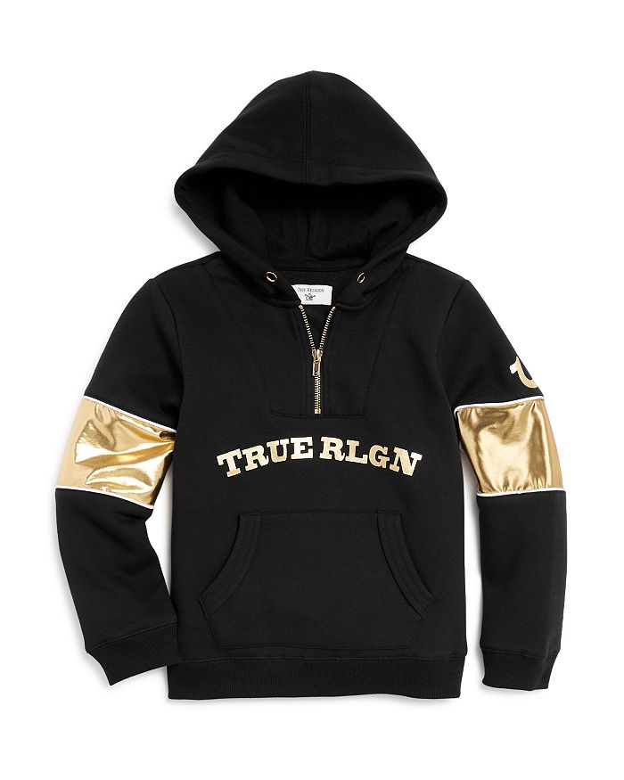 True Religion - Boys' Metallic-Sleeve Half-Zip Hoodie - Little Kid, Big Kid