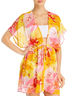 Echo - Cutout Floral Kimono Swim Cover-Up