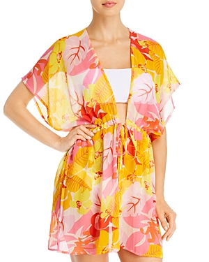 Cutout Floral Kimono Swim Cover-Up