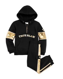 True Religion - Boys' Half-Zip Hoodie & Gold-Stripe Sweatpants - Little Kid, Big Kid