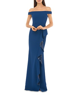 Carmen Marc Valvo Infusion - Off-the-Shoulder Ruffle Gown with Sequin Details