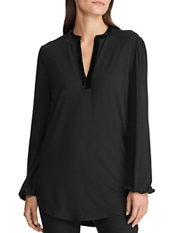 Ralph Lauren - Velvet-Trim Tunic Blouse