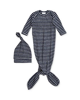 Aden and Anais - Boy's Striped Snuggle Knit Gown & Hat Set - Baby