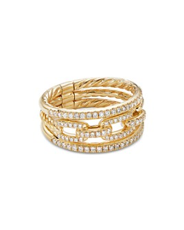 David Yurman - 18K Yellow Gold Stax Three-Row Chain Link Ring with Diamonds