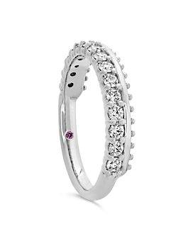 Hayley Paige for Hearts on Fire - 18K White Gold Sloane Picot All In A Row Band with Diamonds & Pink Sapphire