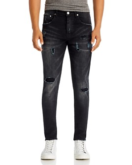 Purple Brand - Skinny Fit Zip Jeans in Black Wash