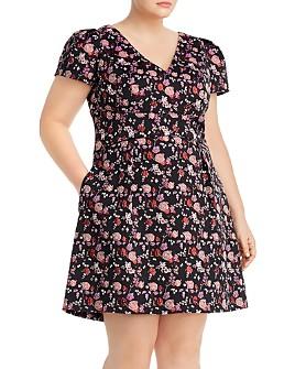 Adrianna Papell Plus - Metallic Floral Mini Dress