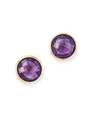 Bloomingdale's Bezel Set Amethyst Stud Earrings in 14K Yellow Gold - 100% Exclusive
