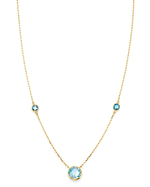 Bloomingdale's Bezel Set Blue Topaz Necklace in 14K Yellow Gold, 18 - 100% Exclusive