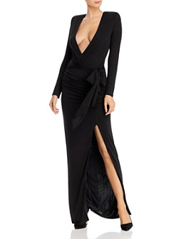 Alice and Olivia - Kyra Plunging Draped Maxi Dress