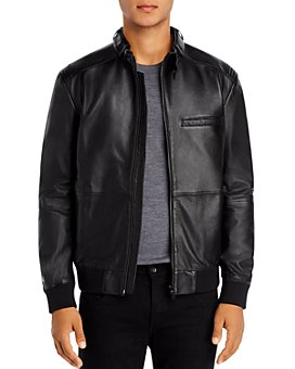 HUGO - Lutwin Seamed Leather Biker Jacket