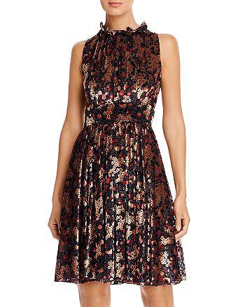 PAULE KA - Sleeveless Floral Devoré Dress