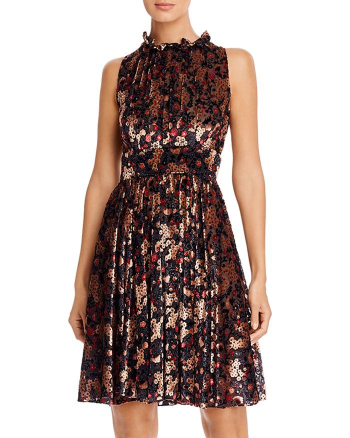 PAULE KA - Sleeveless Floral Devoré Dress