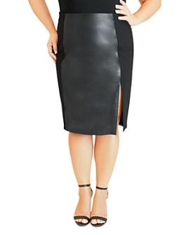 Maree Pour Toi Plus - Faux-Leather Paneled Pencil Skirt