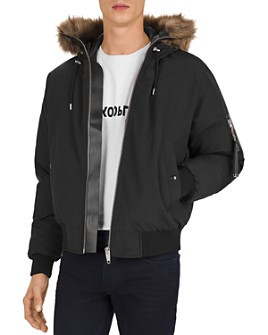 The Kooples - Hooded Down Bomber Jacket