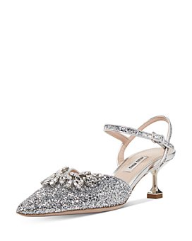 Miu Miu - Women's Crystal-Embellished Glitter Kitten Heel Pumps