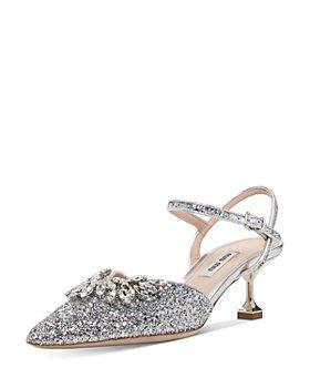 Miu Miu - Women's Crystal-Embellished Glitter Kitten Heel Pumps