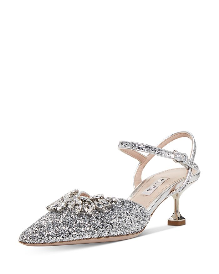 Kitten Heel Glitter Shoes