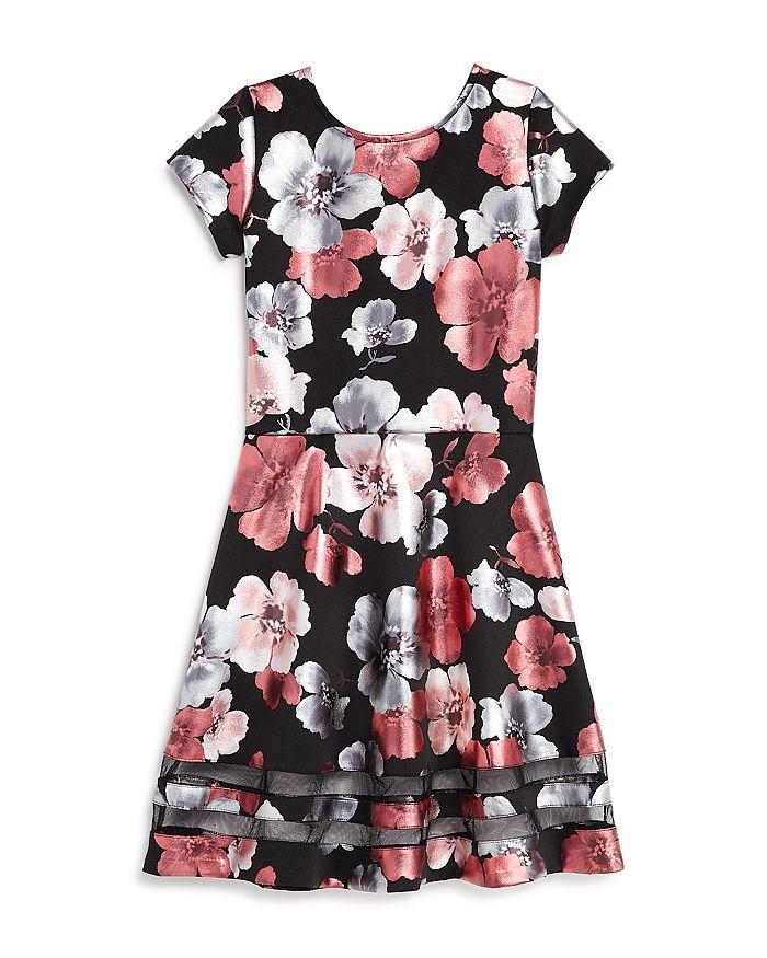 AQUA - Girls' Metallic Floral Print Dress, Big Kid - 100% Exclusive