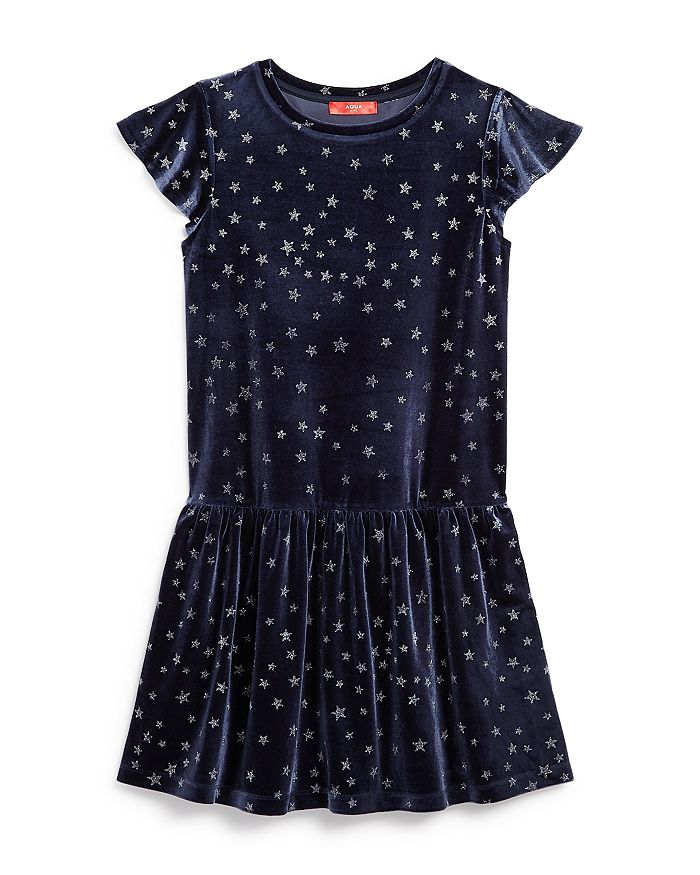 AQUA - Girls' Star Print Velvet Dress, Big Kid - 100% Exclusive