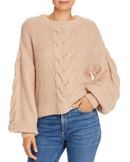 Eleven Six - Sophia Cable Knit Balloon-Sleeve Sweater